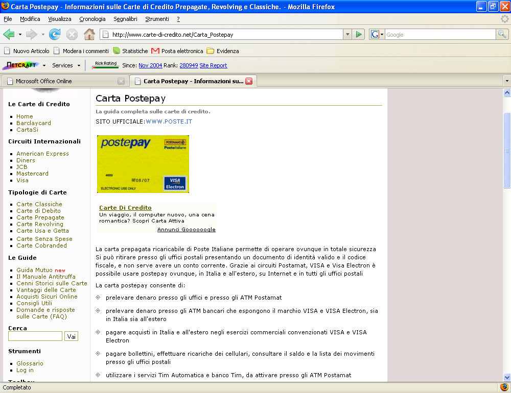 Figura 16: il sito Carte di Credito.net