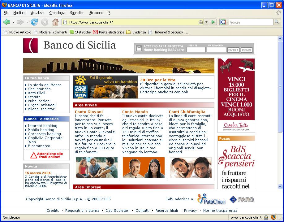 Figura 5: il sito Banco di Sicilia utilizza una connessione crittografata, come evidenzia la presenza del lucchetto chiuso