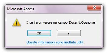 Figura 1: Access mostra un messaggio di errore se non immettete un dato nel campo Cognome