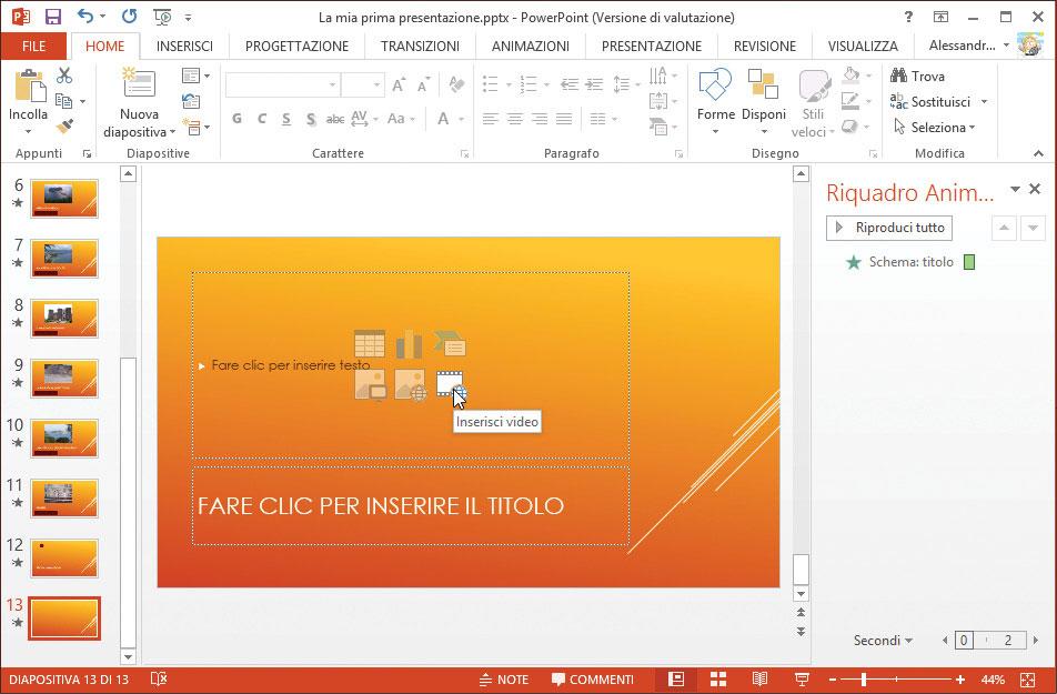 Figura 1: inserimento di un video in una diapositiva