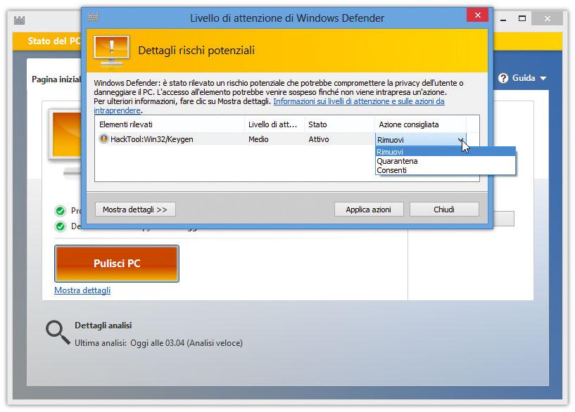 Figura 2: scelta del tipo di azione da compiere su un potenziale malware