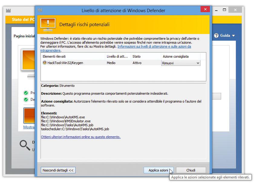 Figura 3: ulteriori informazioni sul malware e sulle azioni da intraprendere