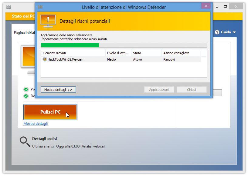 Figura 4: rimozione di malware dal sistema