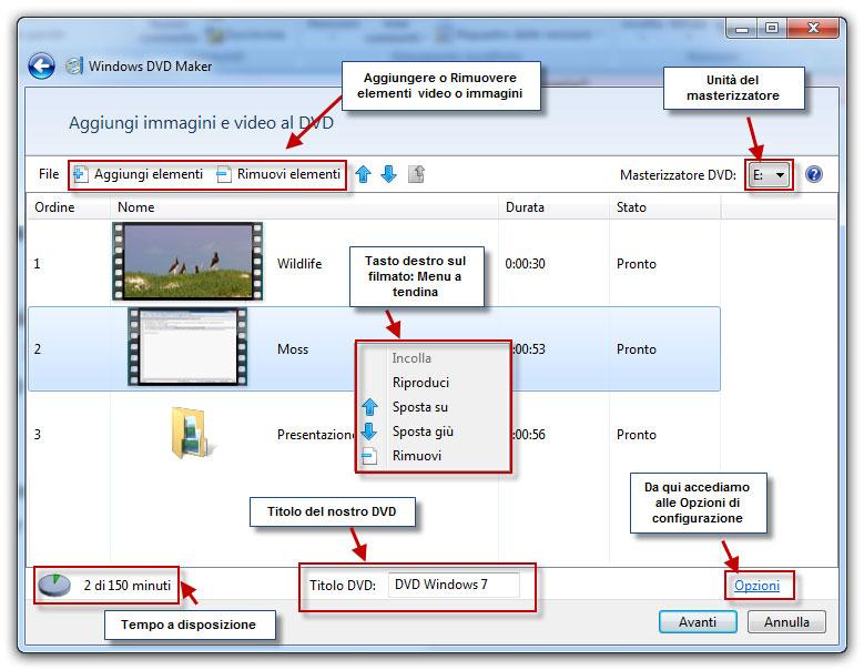 Figura 1: videata di Windows DVD Maker, che ci consente di aggiungere musica, immagini e video