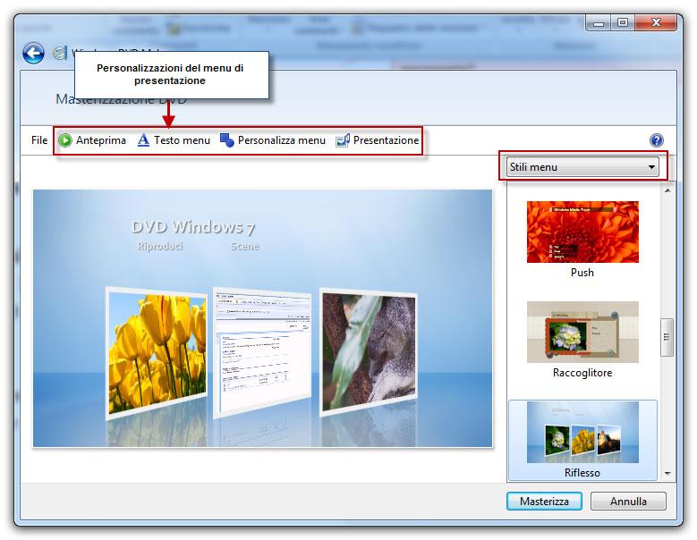 Figura 2: personalizzazione della presentazione e del menu in Windows DVD Maker