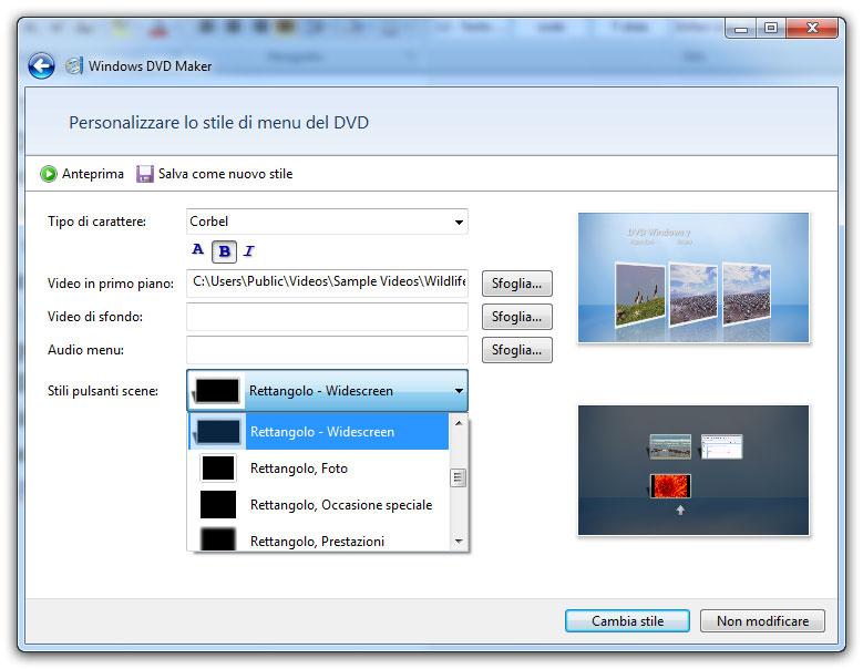 Figura 3: finestra per personalizzare lo stile del menu per il DVD da creare