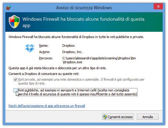 Figura 1: Windows Firewall chiede conferma per l'apertura di una porta sul mondo esterno