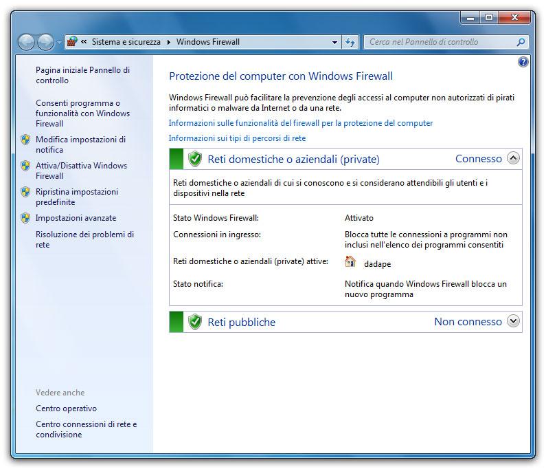 Figura 1: l'interfaccia di configurazione di Windows Firewall dalla quale controllare lo stato del programma e gestire le sue impostazioni