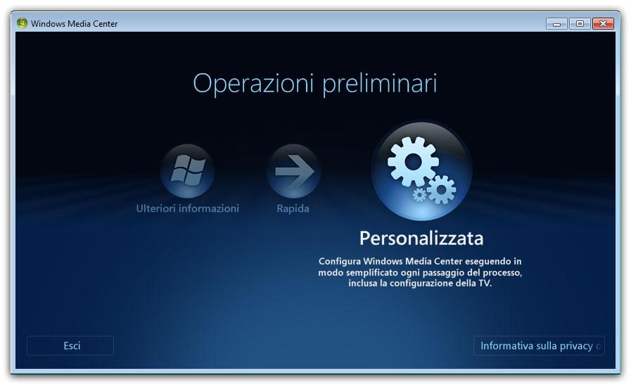 Figura 1: operazioni preliminari al primo avvio di Windows Media Center