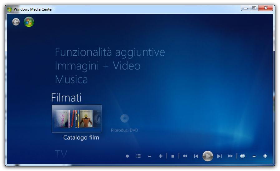 Figura 2: menu principale di Windows Media Center