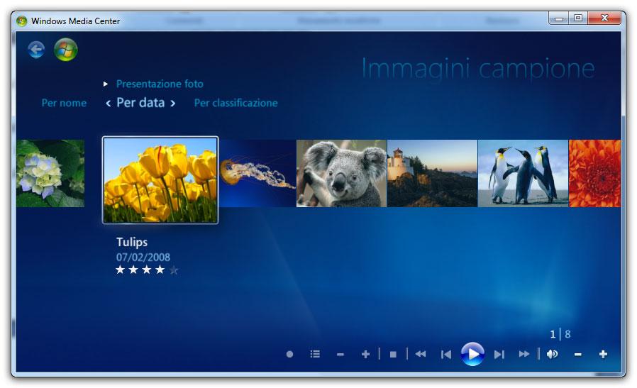Figura 3: la raccolta delle immagini in Windows Media Center