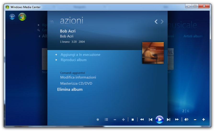 Figura 4: la gestione della Musica in Windows Media Center