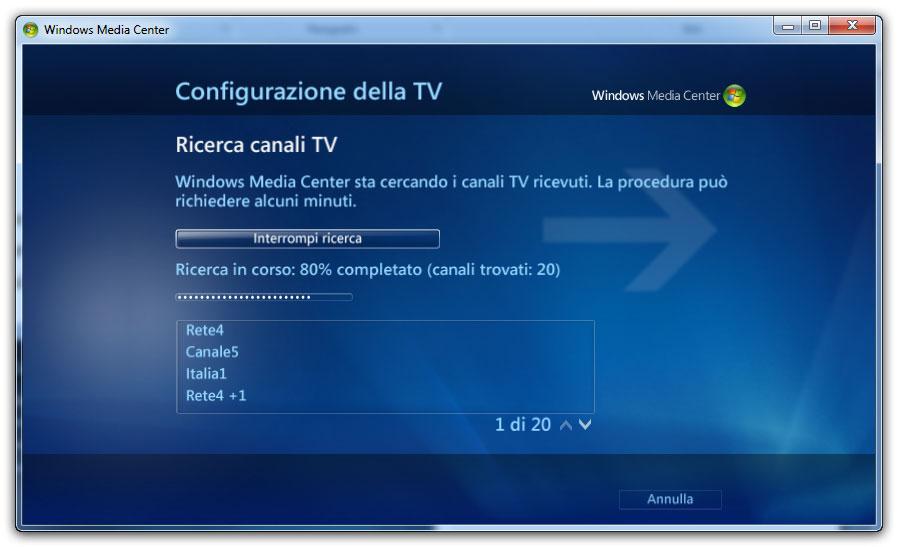 Figura 6: sintonizzatore TV in Windows Media Center