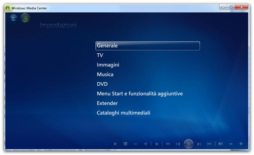 Figura 7: il menu delle Attività di Windows Media Center
