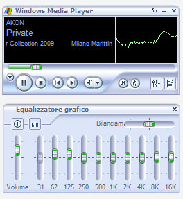 Figura 4: equalizzatore di Windows Media Player