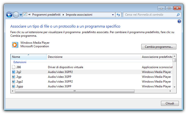 Figura 6: associazione dei file multimediali a Windows Media Player