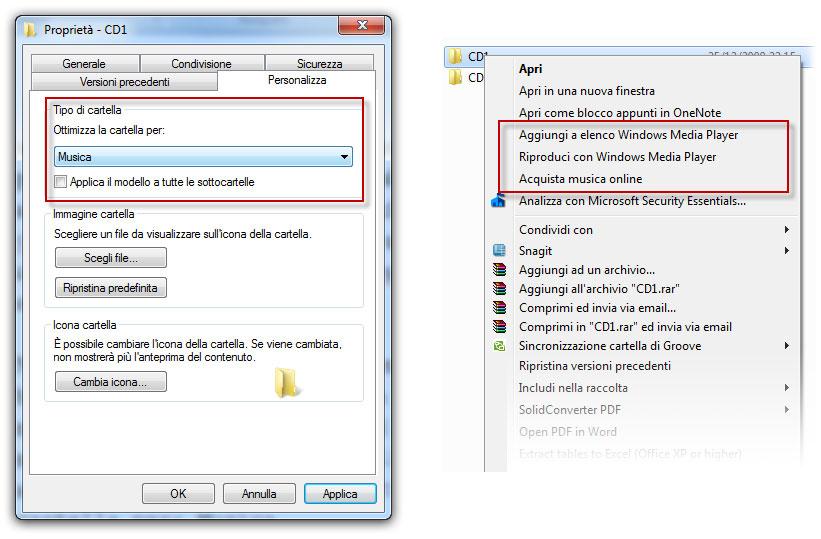 Figura 7: nell'immagine a sinistra stiamo impostando la cartella come cartella musicale; a destra possiamo notare le opzioni aggiuntive per interagire con Windows Media Player