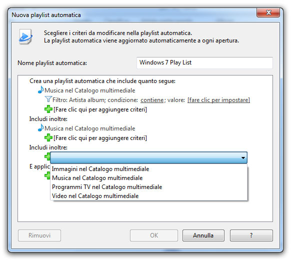 Figura 8: creazione di una playlist automatica in base a opportuni filtri