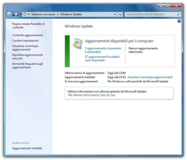 """Figura 2: quando il sistema è protetto, Windows Update si presenta """"vestito"""" di verde"""