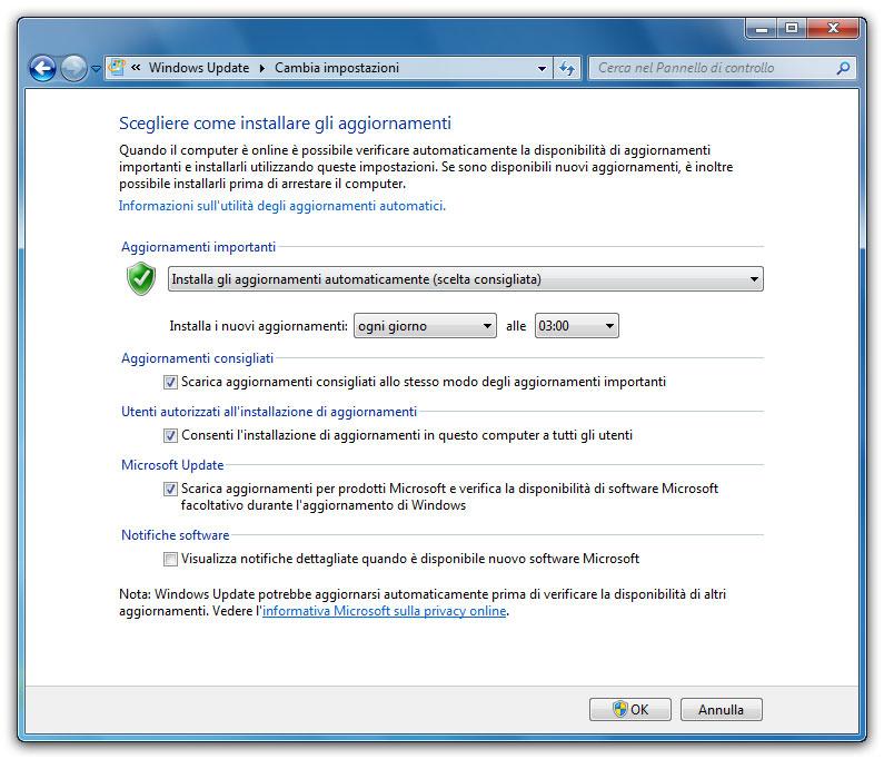 Figura 3: la finestra delle impostazioni di Windows Update con le giuste opzioni selezionate