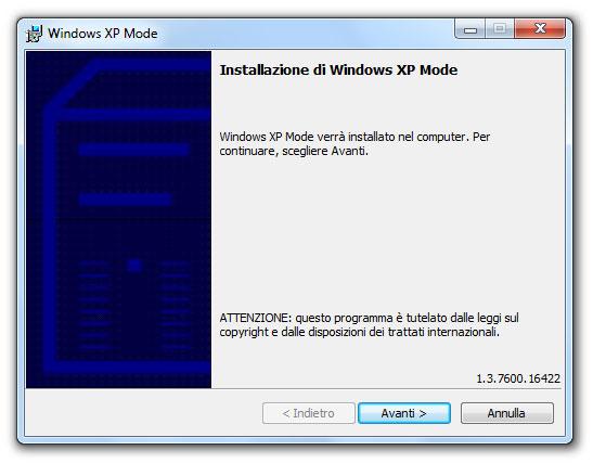 Figura 3: la finestra del programma di installazione della Modalità Windows XP