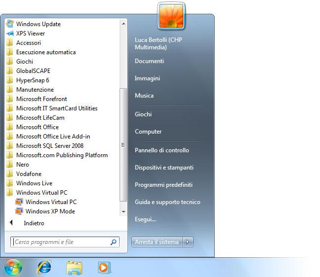 Figura 4: nel menu Start sono apparsi i collegamenti alla Modalità Windows XP e a Virtual PC