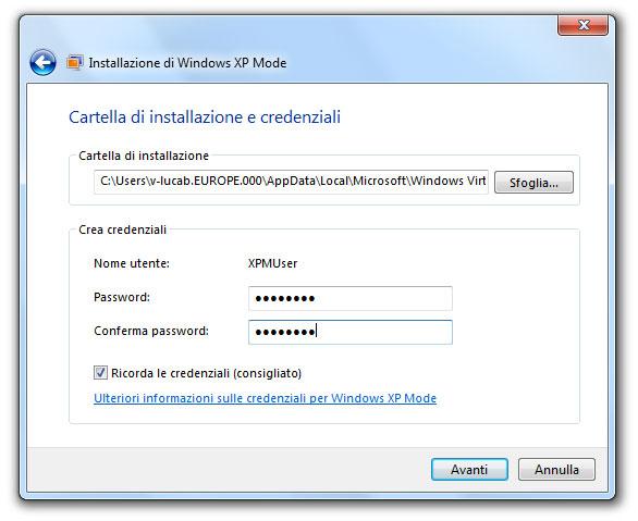 Figura 5: impostazione della password di accesso a Windows XP Mode