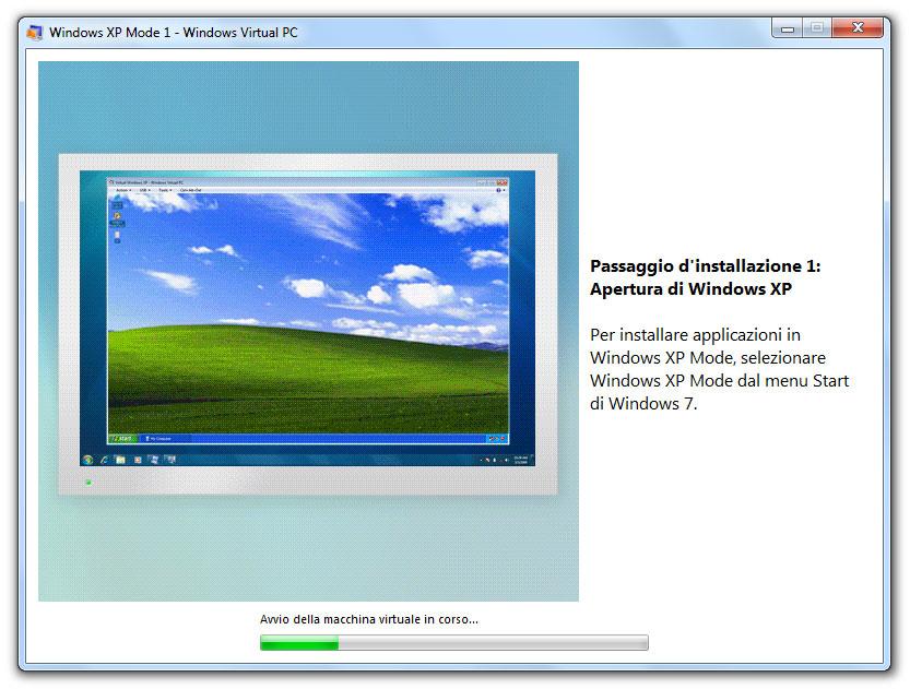 Figura 6: durante la configurazione di Windows XP Mode vengono mostrate le funzioni disponibili