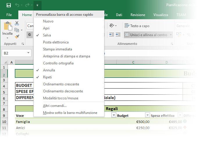 Figura 1: il menu che consente di personalizzare la barra di accesso rapido