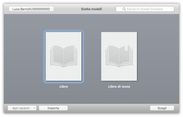 Figura 3: iTunes Producer chiede se si desidera pubblicare su iBooks Store un Libro o un Libro di testo