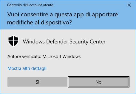 Figura 7: Windows chiede di confermare le modifiche di esclusione che avete inserito