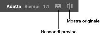 Figura 1: le icone Mostra originale, Nascond provino, 1:1, Riemi e Adatta